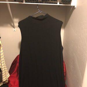 Black mock turtleneck sleeveless dress